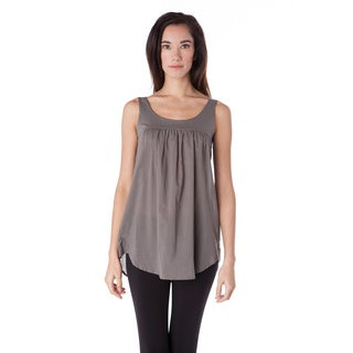 AtoZ Women's Ruffled Sleeveless Cotton Tank Top