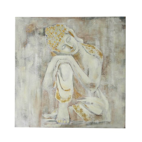 White Canvas Buddha 32-inch Wall Art
