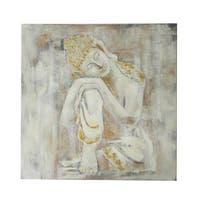 White Canvas Buddha 32-inch Wall Art