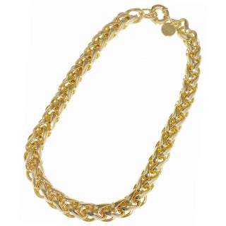 Isla Simone - Gold-Plated Herringbone Link Necklace With Large Spring Ring