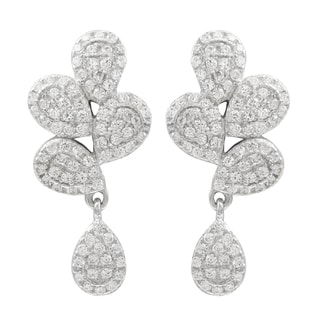 Luxiro Sterling Silver Pave Cubic Zirconia Teardrop Dangle Earrings