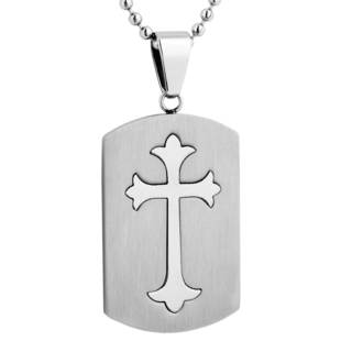 Men's Stainless Steel Dual-Finish Cross Dog Tag