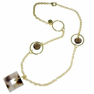 Isla Simone - 18 Karat Gold Plated Necklace With Stations Of Black Quartz