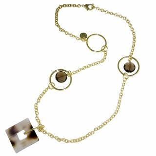 Isla Simone - Gold-Plated Necklace With Stations Of Black Quartz