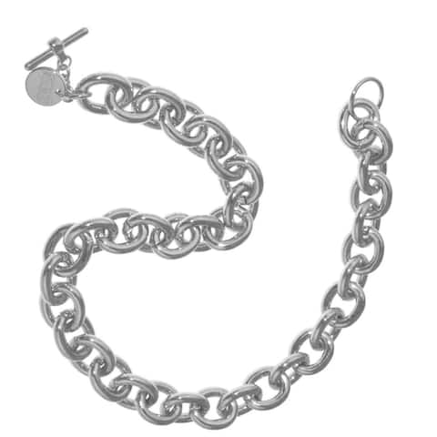 Isla Simone - Sterling Silver And White Bronze Plated Oval Anchor Link Chain Necklace With Toggle