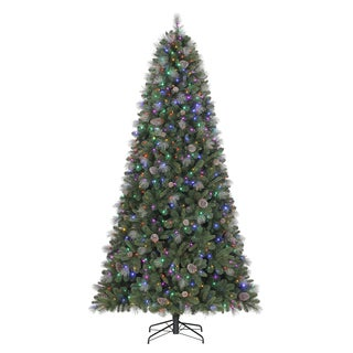 Quick Set Sheridan Glitterl Pine 9 ft. Pre-lit Christmas Tree with Colored or White LED Lights