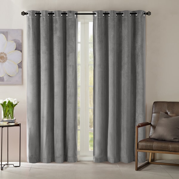 Madison Park Yvette Lined Velvet Window Panel Curtain