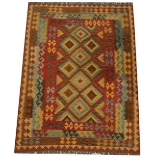 Herat Oriental Afghan Hand-woven Tribal Wool Kilim (4'11 x 6'8)