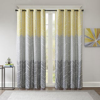 Intelligent Design Kennedy Printed Lined Blackout Window Curtain (Option:  Yellow)