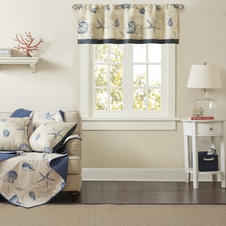 Madison Park Nantucket Navy Cotton Printed Window Valance