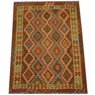 Herat Oriental Afghan Hand-woven Tribal Wool Kilim (4'9 x 6'5)