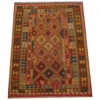 Herat Oriental Afghan Hand-woven Tribal Wool Kilim (5'1 x 6'6)