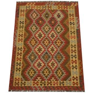 Herat Oriental Afghan Hand-woven Tribal Wool Kilim (4'9 x 6'6)