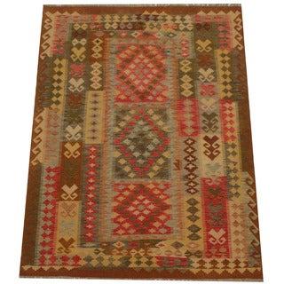 Herat Oriental Afghan Hand-woven Tribal Wool Kilim (5' x 6'6)
