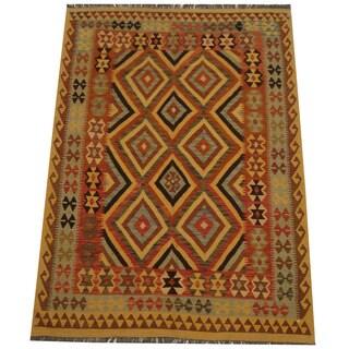 Herat Oriental Afghan Hand-woven Tribal Wool Kilim (5' x 6'11)