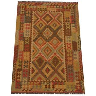Herat Oriental Afghan Hand-woven Tribal Wool Kilim (4'9 x 7')
