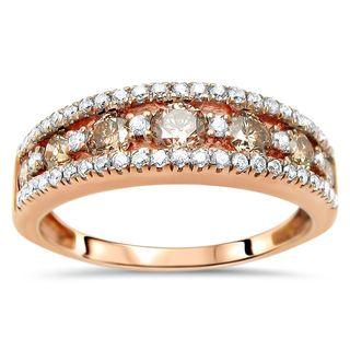 Noori 14k Rose Gold 1 1/4ct TDW Brown Diamond Wedding Band Ring - White