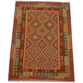 Herat Oriental Afghan Hand-woven Tribal Wool Kilim (4'11 x 6'9)