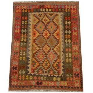 Herat Oriental Afghan Hand-woven Tribal Wool Kilim (4'11 x 6'5)
