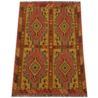 Herat Oriental Afghan Hand-woven Tribal Wool Kilim (4'7 x 6'9)