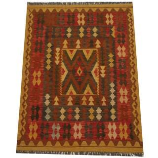 Herat Oriental Afghan Hand-woven Tribal Wool Kilim (4'8 x 6'3)