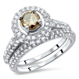 Noori 14k Gold 1ct TDW Brown Diamond Ring Band Wedding Set (I-J, I2-I3)