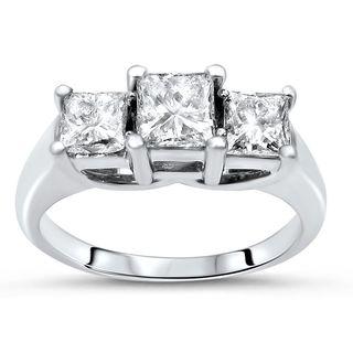 Noori 14k Gold 1ct TDW Princess-cut 3-stone Diamond Engagement Ring - White