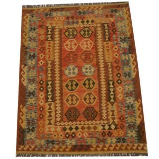 Herat Oriental Afghan Hand-woven Tribal Wool Kilim (5' x 6'8)