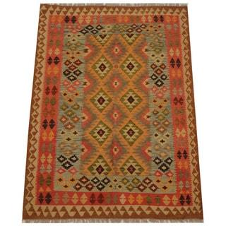 Herat Oriental Afghan Hand-woven Tribal Wool Kilim (5' x 6'9)