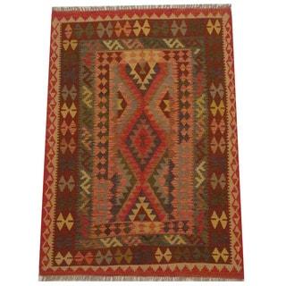 Herat Oriental Afghan Hand-woven Tribal Wool Kilim (5'2 x 6'7)