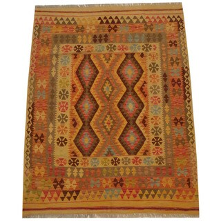 Herat Oriental Afghan Hand-woven Tribal Wool Kilim (5'1 x 6'7)