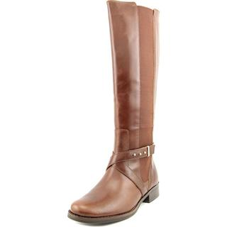 Steven by Steve Madden Women's Sydnee Wide-calf Brown Leather Boots