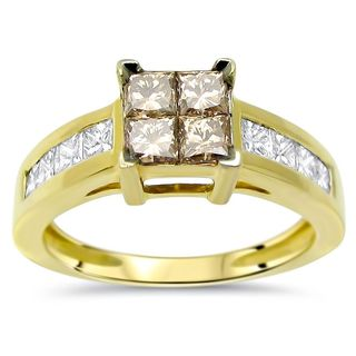 Noori 14k Gold 1 1/10ct TDW Brown Princess-cut Diamond Engagement Ring (H-I, SI1-SI2)