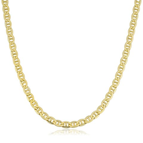 Fremada 14k Yellow Gold Filled Men's 5mm Mariner Link Chain Necklace