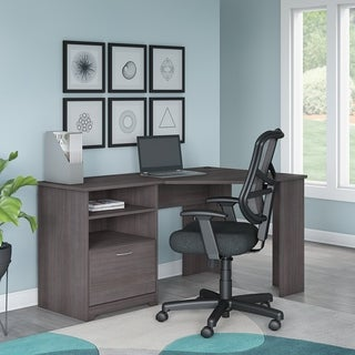 Copper Grove Daintree Corner Desk and Office Chair in Heather Gray
