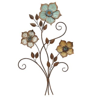 Stratton Home Decor Tricolor Metal Flower Wall Art (Option: 19.25 X 1.50 X  30.00