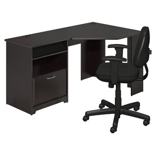 Cabot Espresso Oak Corner Desk and Office Chair