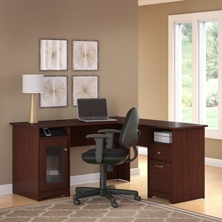 Cabot Harvest Cherry L-shaped Desk and Office Chair
