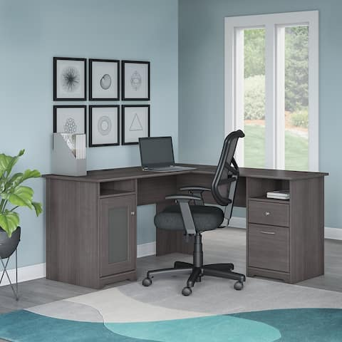 """Copper Grove Daintree L-shaped Desk and Office Chair in Heather Gray - 59.45""""L x 59.45""""W x 30.16""""H"""