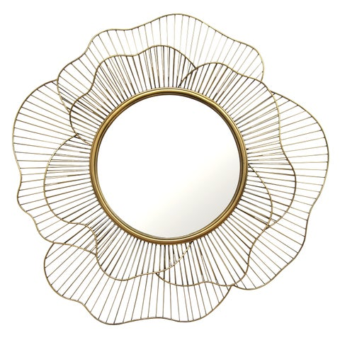 Stratton Home Decor Hand Crafted Metal Stella Wall Mirror - Gold