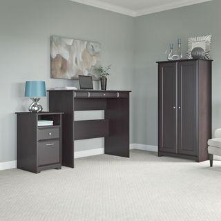 Cabot Espresso Oak Standing Desk, Tall Storage Cabinet, and 2-drawer Pedestal