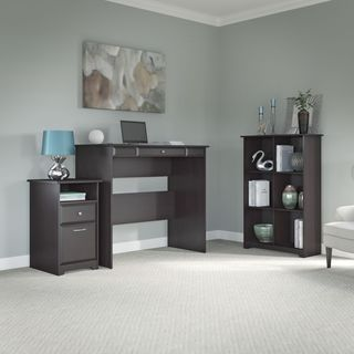 Cabot Espresso Oak Standing Desk with 6 Cube Bookcase and 2-drawer Pedestal