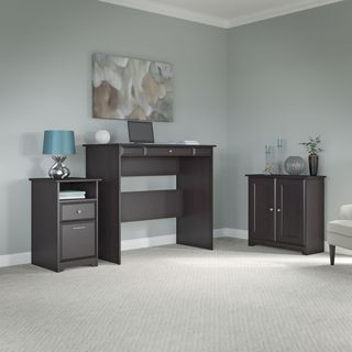Cabot Espresso Oak Standing Desk, Storage Cabinet with Doors, and 2-drawer Pedestal