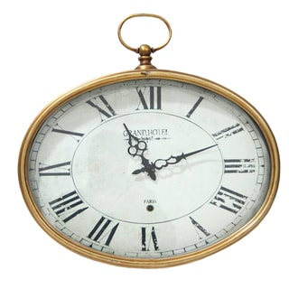 Stratton Home Decor Gold-tone Metal Oval Wall Clock
