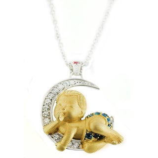 One-of-a-kind Michael Valitutti Sandblasted Baby and Moon Pendant with Cubic Zirconia, Blue Topaz and Created Ruby