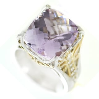 One-of-a-kind Michael Valitutti Cushion Check Top Pink Amethyst with White Sapphire Cocktail Ring