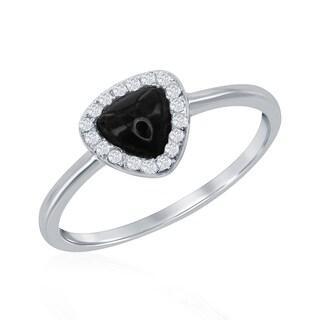 La Preciosa Sterling Silver Cubic Zirconia and Natural Stone Triangle Ring