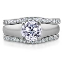 Annello by Kobelli 14k White Gold 1 1/3ct TDW Bridal Set Round Diamond Solitaire with Double Diamond