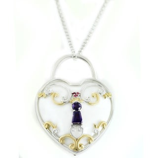 "One-of-a-kind Michael Valitutti White Agate Heart ""Lock"" Pendant with Amethyst and Pink Sapphire"
