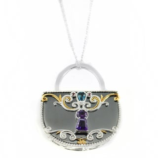 "One-of-a-kind Michael Valitutti Hematite ""Lock"" Pendant with London Blue Topaz, Amethyst and Ruby"